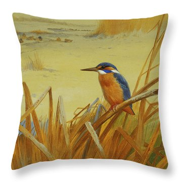 A Kingfisher Amongst Reeds In Winter Throw Pillow by Archibald Thorburn