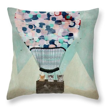 Throw Pillow featuring the painting A Kitten Adventure by Bri B