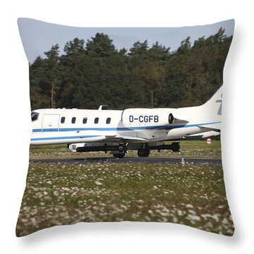 A Learjet Of Gfd With Electronic Throw Pillow by Timm Ziegenthaler