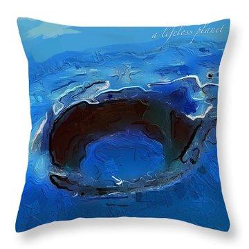 A Lifeless Planet Blue Throw Pillow