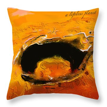 Throw Pillow featuring the digital art A Lifeless Planet Orange by ISAW Company