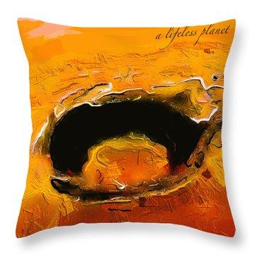 A Lifeless Planet Orange Throw Pillow