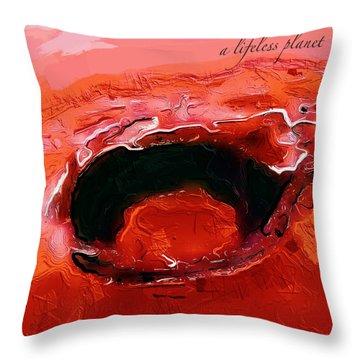 A Lifeless Planet Red Throw Pillow
