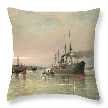 A Liner And Other Shipping Before The Statue Of Liberty Throw Pillow by Pieter Christiaan Cornelis Dommelshuizen