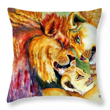 A Lion's Pride Throw Pillow by Maria Barry