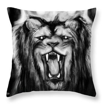A Lion's Royalty B/w Throw Pillow