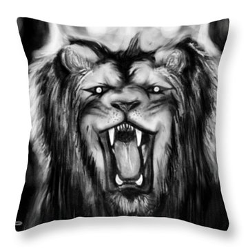 A Lion's Royalty B/w Throw Pillow