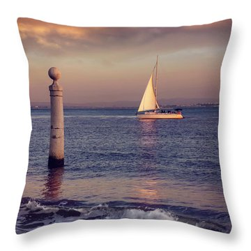 A Lisbon Sunset By The Tagus River Throw Pillow by Carol Japp