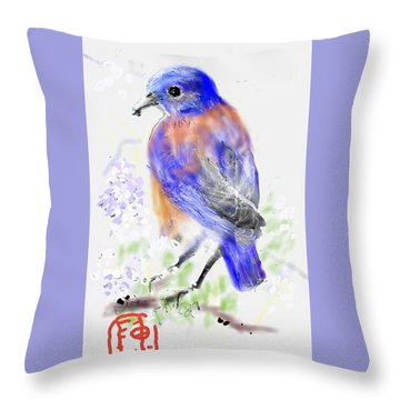 A Little Bird In Blue Throw Pillow
