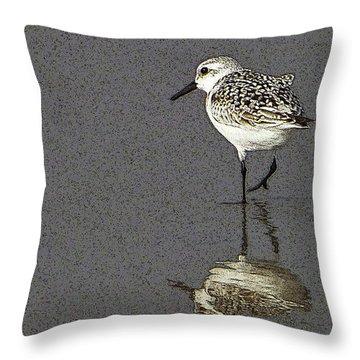 A Little Bird On A Beach Throw Pillow