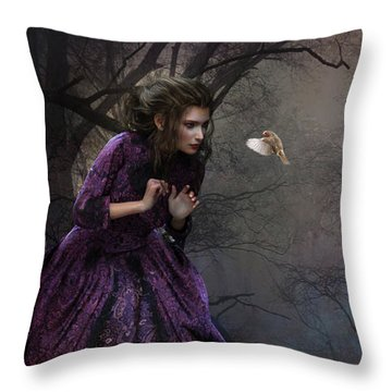 Throw Pillow featuring the digital art A Little Bird Told Me by Shanina Conway