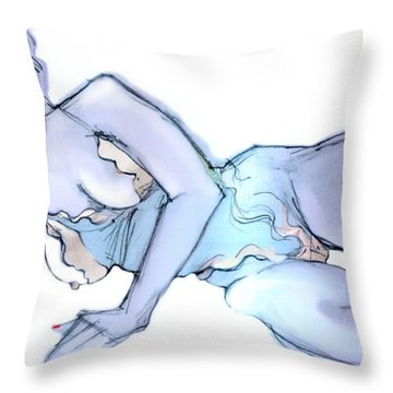 Throw Pillow featuring the painting A Little Bit Naughty - Female Nude  by Carolyn Weltman