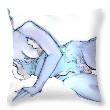 A Little Bit Naughty - Female Nude  Throw Pillow