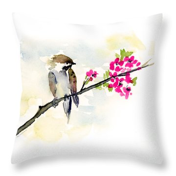 A Little Bother Throw Pillow by Amy Kirkpatrick