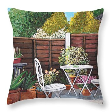 A Little British Garden Throw Pillow