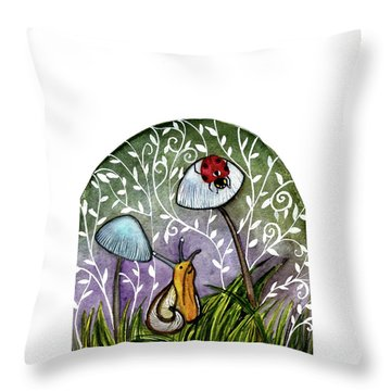 A Little Chat-ladybug And Snail Throw Pillow by Garima Srivastava