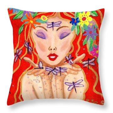 A Little Dragonfly Spell Throw Pillow by Louise Green