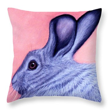 Throw Pillow featuring the pastel A Little Grey Hare by Jan Amiss