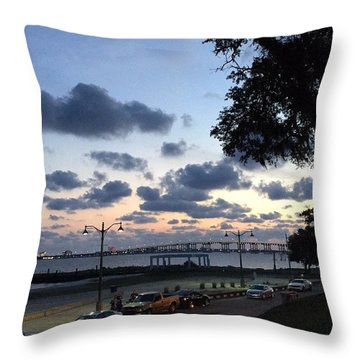 Ocean Springs Front Beach Throw Pillow