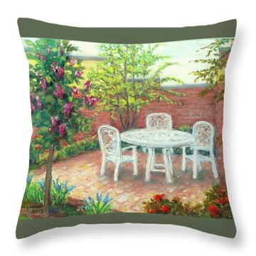 A Little Spring Patio  Throw Pillow by Nancy Heindl