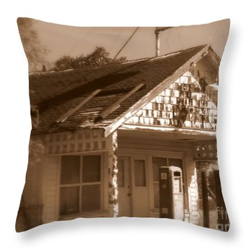 A Little Weathered Gas Station Throw Pillow by Carol Groenen