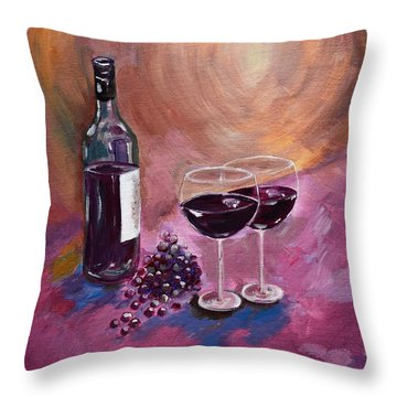 A Little Wine On My Canvas - Wine - Grapes Throw Pillow