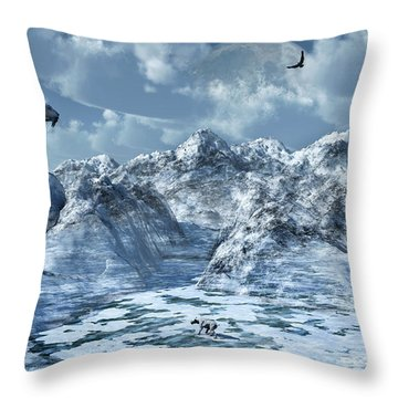 A Lone Sabre Toothed Tiger Perched Throw Pillow by Mark Stevenson
