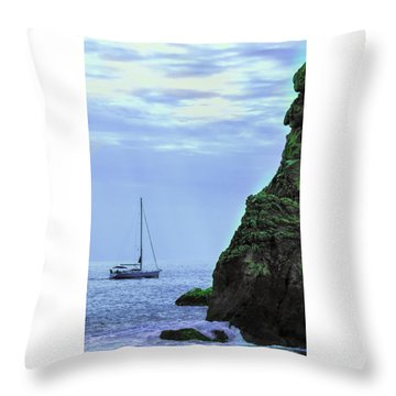 A Lone Sailboat Floats On A Calm Sea Throw Pillow