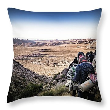 Throw Pillow featuring the photograph A Long Walk Through Joshua Tree by T Brian Jones