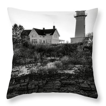 Throw Pillow featuring the photograph A Long Winter At Cape Elizabeth by Olivier Le Queinec