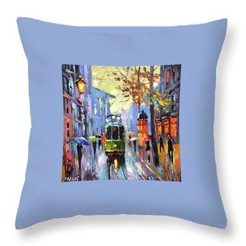 A Lonley Tram  Throw Pillow