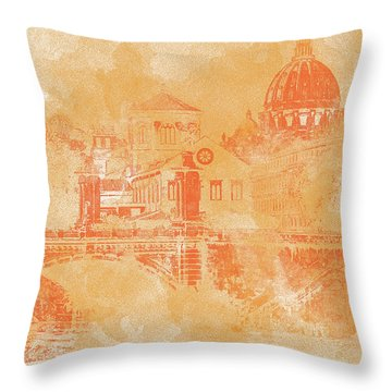 A Look At History - Rome Throw Pillow by Andrea Mazzocchetti