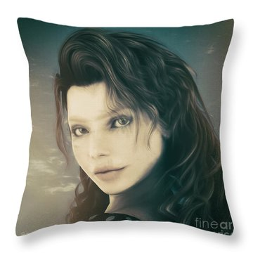 Throw Pillow featuring the mixed media A Look Back by Jutta Maria Pusl