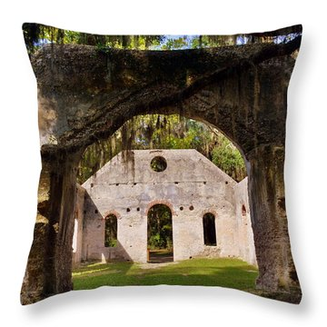 A Look Into The Chapel Of Ease St. Helena Island Beaufort Sc Throw Pillow