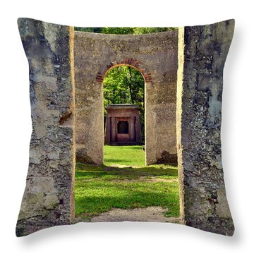 A Look Through Chapel Of Ease St. Helena Island Beaufort Sc Throw Pillow