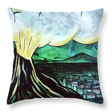 Throw Pillow featuring the painting A Love Explosion by Nathan Rhoads