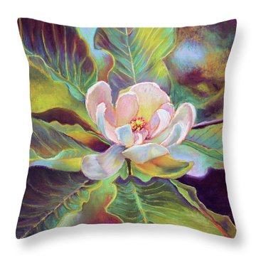 A Magnolia For Maggie Throw Pillow by Susan Jenkins