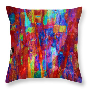 A Magpie At Wallstreet Throw Pillow