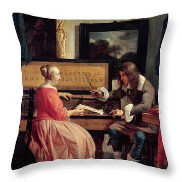 A Man And A Woman Seated By A Virginal Throw Pillow by Gabriel Metsu