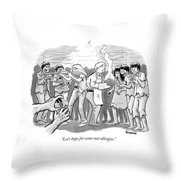 A Man And A Woman Stand In The Middle Of A Horde Throw Pillow
