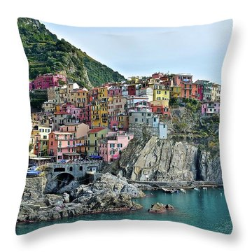 Throw Pillow featuring the photograph A Manarola Morning by Frozen in Time Fine Art Photography