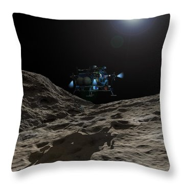 A Manned Asteroid Lander Approaches Throw Pillow by Walter Myers