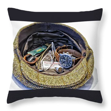 Throw Pillow featuring the photograph A Man's Items by Walt Foegelle