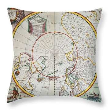 A Map Of The North Pole Throw Pillow by John Seller