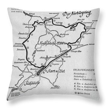 A Map Of The Nurburgring Circuit Throw Pillow
