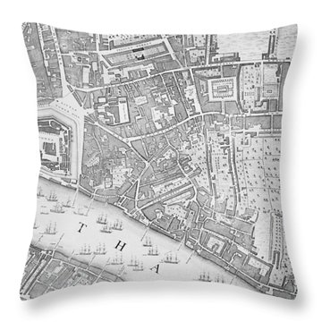 A Map Of The Tower Of London Throw Pillow by John Rocque