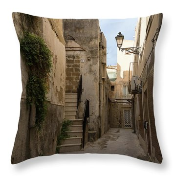 A Marble Staircase To Nowhere - Tiny Italian Lane In Syracuse Sicily Throw Pillow