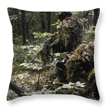 A Marine Sniper Team Wearing Camouflage Throw Pillow by Stocktrek Images