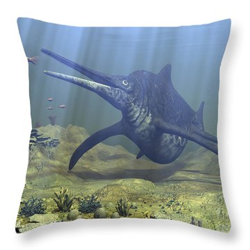 A Massive Shonisaurus Attempts To Make Throw Pillow by Walter Myers