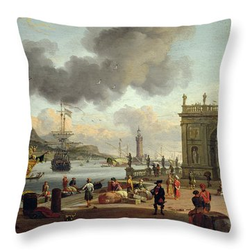 A Mediterranean Harbour Scene   Throw Pillow by Abraham Storck